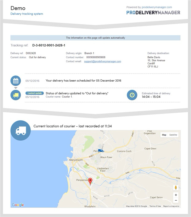 Full delivery tracking information for your customers, including estimated time of delivery - Click to Zoom